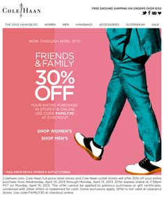 You're Invited to the Cole Haan Friends and Family SaleEssential Homme Magazine: - Cole Haan Friends and Family Sale Wingtip shoes leather high end designer price buy discount sale code promotion Pop Posters, Sale Emails, Wingtip Shoes, Handbags For Men, Black Friday Shopping, Fashion Marketing, Email Design, Sale Poster, Youre Invited