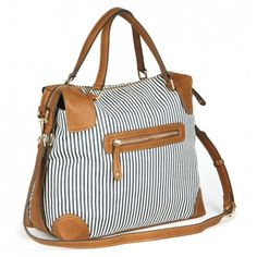 Blue and White Satchel / Shoulder Bag - Bianca - Also available in blue, black, and white tribal print - Sole Society