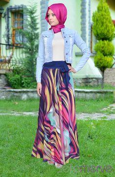 Pınar Akşam Kot Ceket 2232-01 Mavi