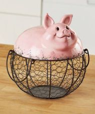 pig planter pottery | NEW Farm Friend Wire Pig Basket Country Home Kitchen Decor Ceramic Top