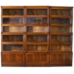 Three Large Oak Sectional Waterfall Barrister Bookcases | From a unique collection of antique and modern bookcases at https://www.1stdibs.com/furniture/storage-case-pieces/bookcases/