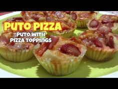 Puto with Pizza Topping September 2019 Ingredients: 2 Cups Flour 1 Cup Sugar Cup Melted Butter Butter. Pinoy Recipe, Pinoy Food, Filipino, Pizza, Snacks, Make It Yourself, Baking, Simple, Youtube