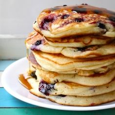 Sour cream blueberry pancakes from scratch. We made these this morning. SO good :)