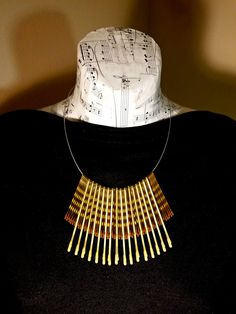 Eco Chic Tribal Modern Statement Necklace, Upcycled Jewelry made with bobby pins! Get yours here https://www.etsy.com/listing/471278230/tribal-necklace-gold-statement-necklace?ref=shop_home_active_1