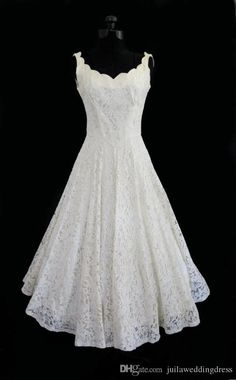 Vintage 2015 Short Lace Wedding Dresses Spaghetti V neck Sleeveless Tea Length Zipper Real-image A-line Bridal Gown