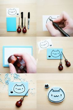 DIY hand carved cat stamps Luck - we could do a rustic design to mark the back of the envelope once sealed. Diy Stamps, Handmade Stamps, Handmade Crafts, Cute Crafts, Diy And Crafts, Paper Crafts, Stencil, Eraser Stamp, Diy Cadeau