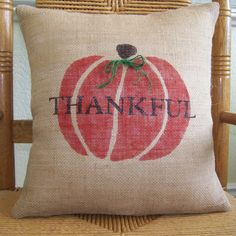 Pumpkin thankful pillow coverFall pillow by KelleysCollections