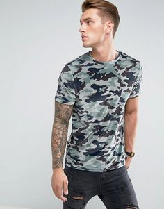 ASOS T-Shirt In Velour All Over Camo - Green