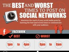 """The Best and Worst Times to Post on Social Networks. While I initially thought, """"what a useful graphic!"""", I later concluded that these best and worst times can vary widely and will depend significantly on who your target audience is. Online Marketing, Social Media Marketing, Mobile Marketing, Marketing Strategies, Inbound Marketing, Marketing Plan, Business Marketing, Content Marketing, Internet Marketing"""
