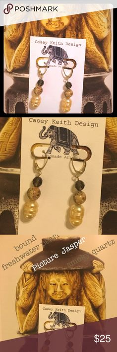 Bound Pearl Earrings Bound cream freshwater pearl dangles from silver plated leverback earwire with faceted smoky Quartz and picture Jasper.  Lots of charming natural detail gathered into a demure package of that pairs well with preppy and bohemian styles. Artists signature gift packaging included with purchase. Casey Keith Design Jewelry Earrings
