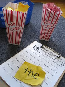 Jones's Kindergarten: popcorn words Write sight words on construction paper; have the kids choose a word; read it; Kindergarten Centers, Kindergarten Writing, Kindergarten Classroom, Teaching Reading, Kindergarten Freebies, Guided Reading, Kindergarten Sight Words, Kindergarten Routines, Preschool Routine