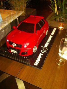 This is my first car cake. It is a VW Golf GTI, long. Golf Birthday Cakes, 18th Birthday Cake, Car Cakes For Boys, Sports Themed Cakes, Realistic Cakes, Dad Cake, Cute Cakes, Awesome Cakes, Vw Tiguan