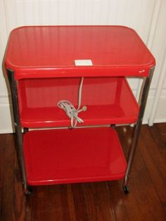 Vintage Cosco 3 Tier Rolling Metal Cart Utility Cart Red & Chrome With Built-in…