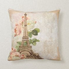 Shop Paris Pink Rose Vintage Romantic Pillow created by Personalize it with photos & text or purchase as is! Vintage Paris, Vintage Roses, European Home Decor, Shabby Chic Bedrooms, Paris Theme, Interior Design Tips, Interior Decorating, Custom Pillows, Textured Background