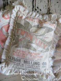 Vintage Feedsack Sawdust Pillow  Farmhouse  Twin Lily Flour by SweetMagnoliasFarm, $18.00