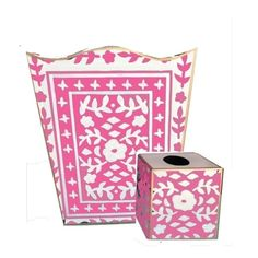 Mosaic in Pink Wastebasket and Tissue by Dana Gibson Call to order 336-777-3660