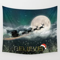 Santa's Midnight Ride Wall Tapestry