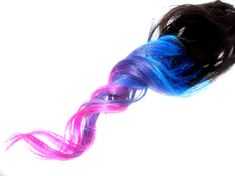 Pink/Blue/Purple/Turquoise Ombre-Dip Dyed Extensions / 18 to 20 Inches Long / Four (4) Clip Ins (ETSY)
