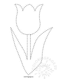 traceable-tulip-template – Famous Last Words Flower Applique, Applique Patterns, Quilt Patterns, String Art Templates, String Art Patterns, Spring Art, Spring Crafts, Do A Dot, Flower Template