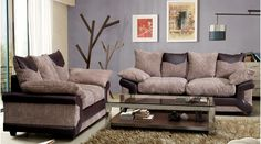 Cammie Mixed Fabric Sofa Set