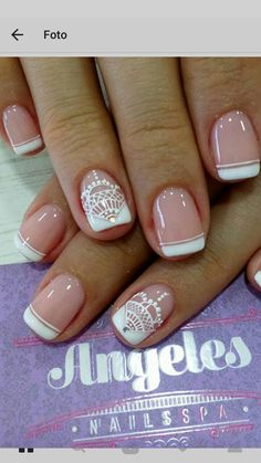 25 Glam Ideas For Ombre Nails - Nail Designs Bridal Nails, Wedding Nails, Bunny Nails, Lace Nails, Us Nails, Perfect Nails, French Nails, Manicure And Pedicure, Beauty Nails
