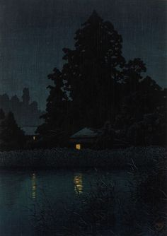 Night Rain At Omiya 1930, Kawase Hasui, (Japanese, 1883 - 1957)