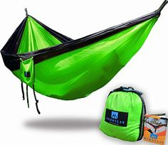 Double Camping Hammock With Tree Straps – Parachute Nylon RipStop Portable Lightweight Fabric Hammock for Backpacking Camping Travel Beach Yard – for 2 Person – Free Aluminium Carabiners Backpacking Tent, Camping Gear, Best Camping Hammock, Beach Trip, Drawstring Backpack, Traveling By Yourself, Gym Bag, Yard, Outdoor Adventures