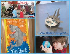 Hey, we have this Pin the Fin on the Shark game - only paid $2 for it!  Kids in the upper left corner are playing musical chairs to the theme from Jaws.