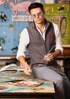 Denim Fashion, Fashion Vest, Elegant Man, Dapper Men, Premium Brands, Gentleman Style, Handsome, Menswear, Chic