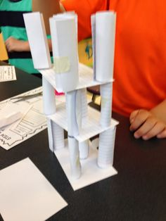 STEM Challenge: Can you build a tower with only ONE supply? Kids will try all kinds of things with this one, including making columns. Their thinking will change a lot as they learn about counter balancing! whatever you do, don't sneeze!