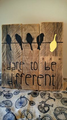 This rustic Dare to be Different sign is made from repurposed pallet wood. The boards pictured have been tea stained (chai to be exact!) and the lettering is hand painted in black and yellow. This listing is for the pictured sign, which measures roughly 13x12 inches. All of my signs
