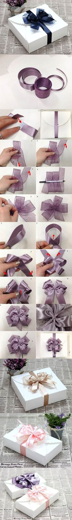 DIY Ribbon Bow for Gift Box Packaging | iCreativeIdeas.com LIKE Us on Facebook ==> https://www.facebook.com/icreativeideas