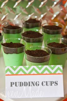 """""""Dirt"""" pudding cups at a Construction Party #construction #partyfood"""