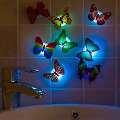 Wholesale Colorful Artificial Butterfly LED Night Light Home Party Bedroom Wedding Decoration Lights Lamp Wall Sticker Kids Gift  Price: 1.43 USD