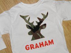 Camo deer head shirt or onesie  PERSONALIZED  by NoPaparazziPlease, $20.00