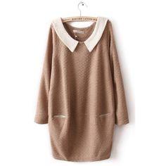 Khaki Contrast Collar Long Sleeve Pockets Dress ($31) ❤ liked on Polyvore