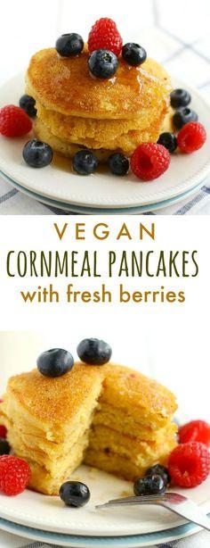 Cornmeal pancakes are the perfect weekend breakfast! #vegetarian #vegan #plantbased #pancakes #dairyfree #eggfree