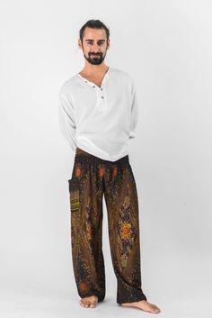 Peacock Eye Men's Harem Pants in Brown