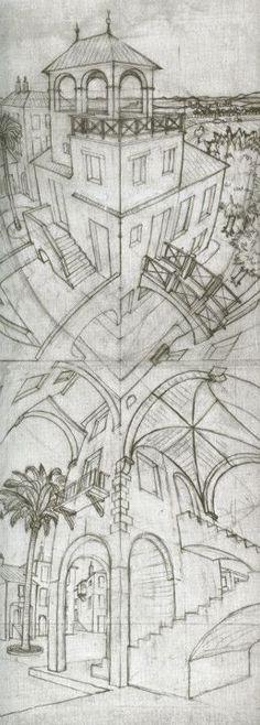 "Preliminary Studies of ""Up and Down"". Mc Escher, Escher Kunst, Escher Art, Escher Drawings, Art Drawings, Art Optical, Optical Illusions, Tinta China, Dutch Artists"