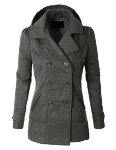 LE3NO Womens  Classic Wool -Double Breasted Pea Coat Jacket With Hoodie/ $33.00