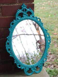 Ornate MirrorOval Curvy DesignTurquoise or by bellasattictreasures, $67.00