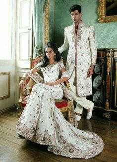 Red and white lengha you can't sit with us