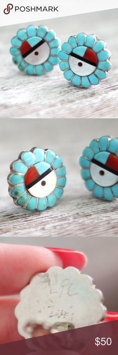 Zuni Turquoise Sunface Clip Earrings Beautiful small earrings! Some minor discoloration on one earring, not sure what this is from or if it is just part of the stones. That particular earring also had the clip backing replaced. They are sterling silver stamped by the artist L.P.L. Vintage Jewelry Earrings