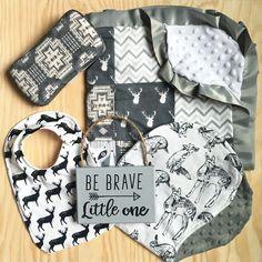 Be brave little one. Woodland nursery. Gender neutral nursery, deer blanket, Aztec, boho nursery
