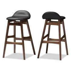 Baxton Studio Bloom 30 in. Faux Leather Bar Stool - Set of 2