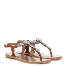 Laterale Sandalo infradito Twin-Set in pelle cuoio e pietre