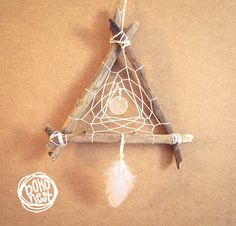 Dream Catcher  White Moon  With Round Shell Amulet by bohonest #dream #catcher #decor #decoration #hippie #hipster #boho #native #american #indian #tribal #feather #feathers #home #bedroom #nursery #mobile #dreamer #unique #boho nest #triangle #wood #wooden #driftwood #moon #fullmoon #amulet
