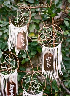 Hand Crafted Dream Catcher Escort Cards | Emily Katharine Photography | http://heyweddinglady.com/whimsical-modern-garden-wedding-copper-purple/