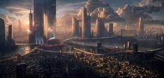 I love futuristic cityscapes