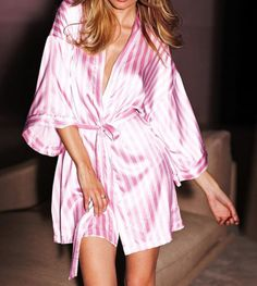 Victoria Secret Signature Stripe Satin Robe Pink White s M Kimono Sold Out | eBay